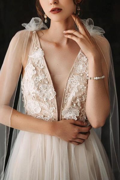 Open Back Appliques Tulle A-line Wedding Dress_5