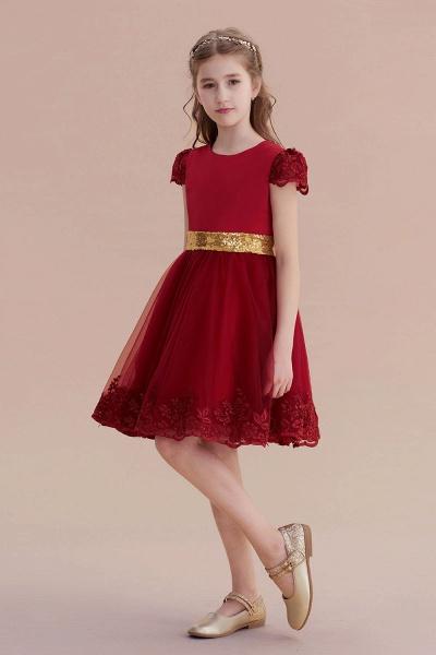 Cap Sleeve Bow Knee Length A-line Flower Girl Dress_4