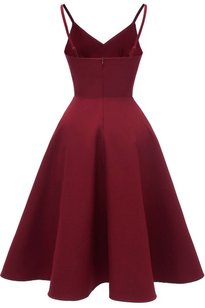 Trendy Spaghetti Straps Sleeveless Princess Vintage Dresses | Womens Retro V-neck Burgundy Cocktail Dress_12