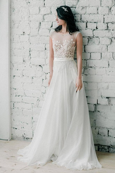 Awesome Sweep Train Chiffon A-line Wedding Dress_1