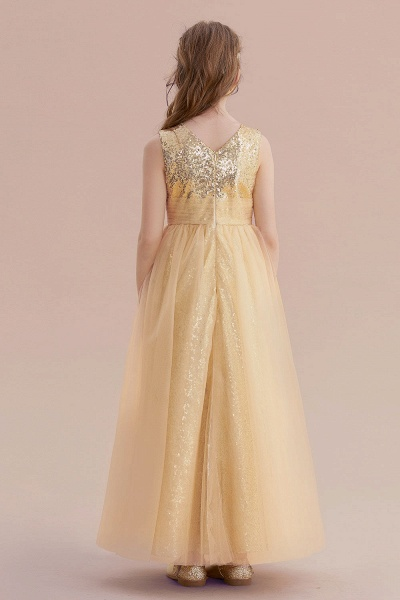 Awesome Sequins Tulle Flower Girl Dress_3