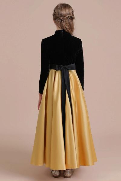 High-neck Velvet Satin A-line Flower Girl Dress_3