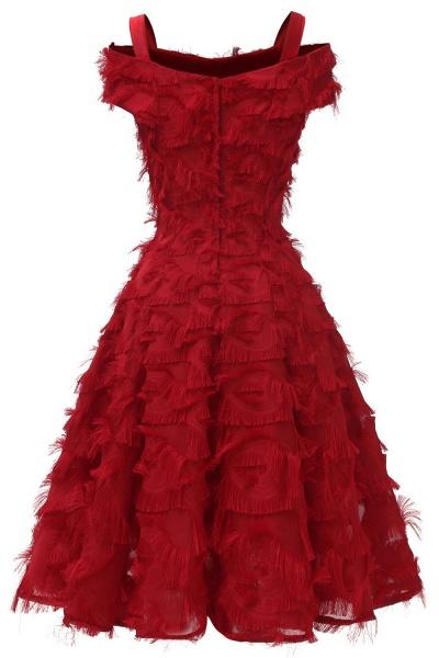 Artificial Fur Cap Sleeve Princess Short Homecoming Dress   A-line Burgundy Cocktail Dresses_12