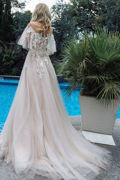 Appliques Off-the-shoulder A-line Wedding Dress_3