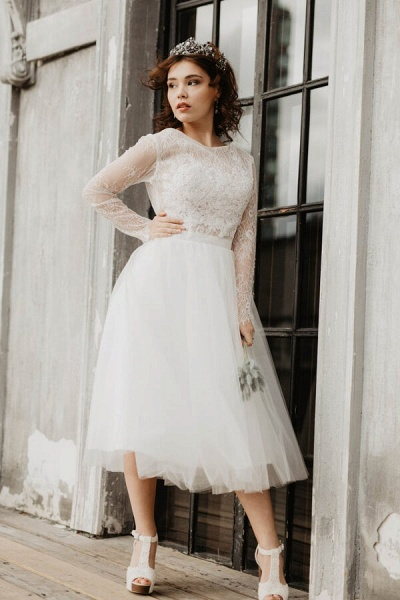Chic Long Sleeve Lace Tulle A-line Wedding Dress_1