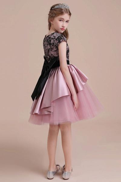 Cap Sleeve Lace Tulle Knee Length Flower Girl Dress_8