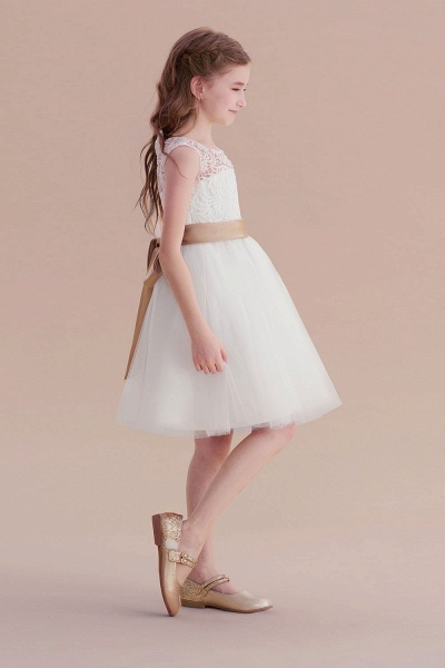 Bow Tulle Lace Knee Length A-line Flower Girl Dress_5