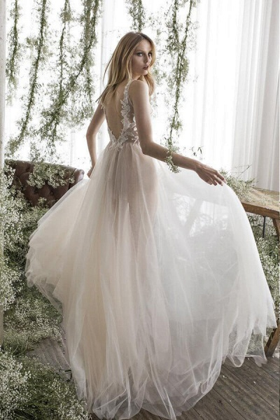 Latest V-neck Appliques Tulle A-line Wedding Dress_5
