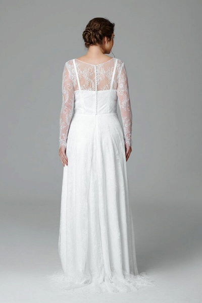 Plus Size Long Sleeve Lace A-line Wedding Dress_3