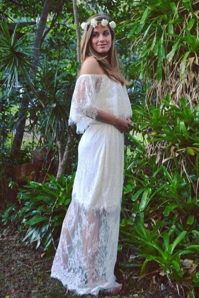 Off-the-shoulder Lace Floor Length Wedding Dress_5
