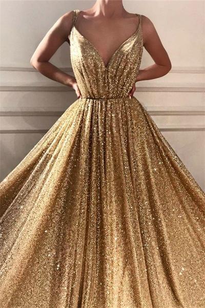 Glamorous Sequins Spaghetti Straps Long Prom Dress_2