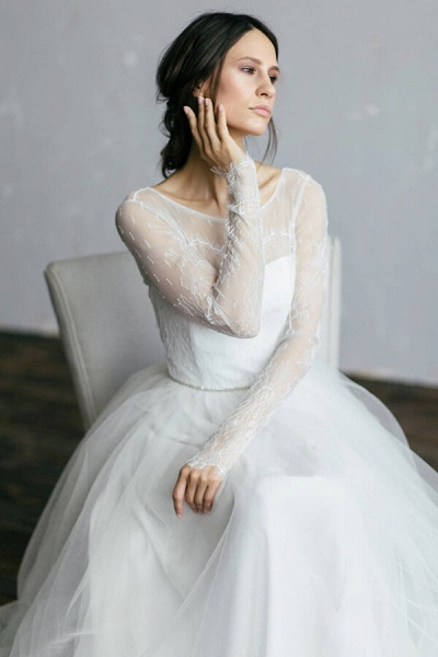 Chic Illusion Long Sleeve Lace Tulle Wedding Dress_1