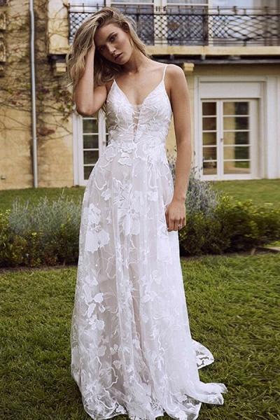 V-neck Spaghetti Strap A-line Tulle Wedding Dress_6
