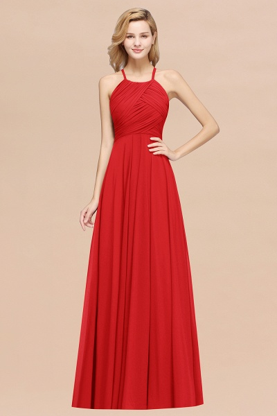 A-Line Chiffon Halter Ruffles Floor-Length Bridesmaid Dress_8