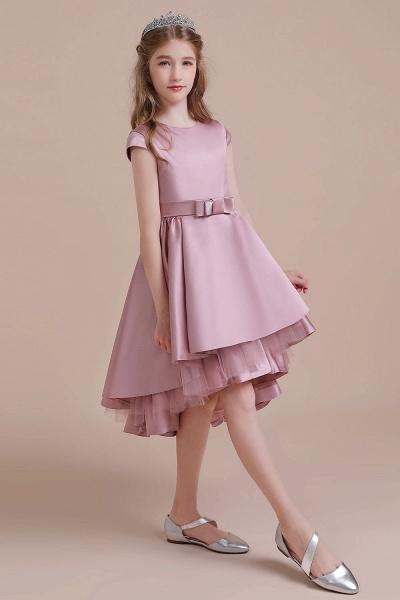 Cap Sleeve A-line Satin High-low Flower Girl Dress_6
