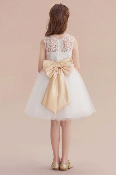 Lace Tulle Knee Length Dress Flower Girl Dress_3