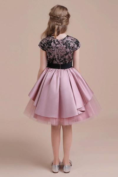 Cap Sleeve Lace Tulle Knee Length Flower Girl Dress_9