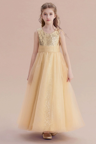 Awesome Sequins Tulle Flower Girl Dress_4