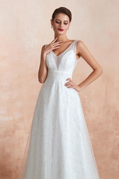 Graceful V-neck Pearl Tulle A-line Wedding Dress_7