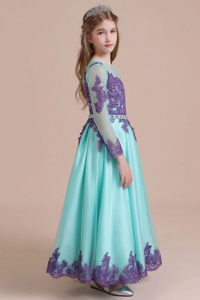 Chic Long Sleeve Appliques A-line Flower Girl Dress_7