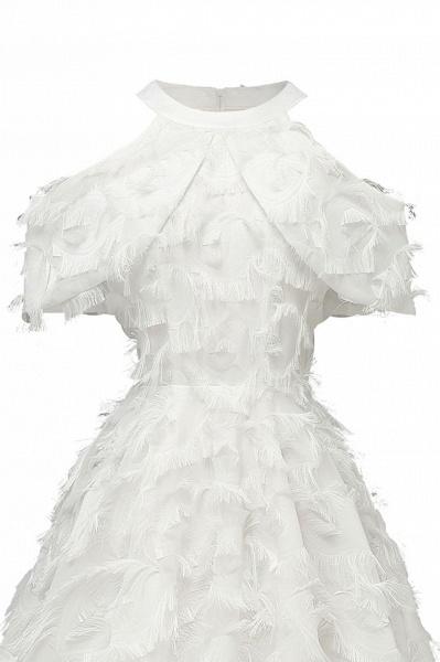Elegant High neck Artifical Feather A-line Vintage Cocktail Dresses | Retro A-line Burgundy Homecoming Dress_19