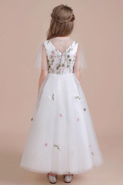 Short Sleeve Embroidered Tulle Flower Girl Dress_3