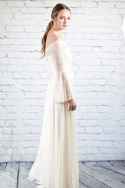 Off-the-shoulder Lace Chiffon A-line Wedding Dress_8