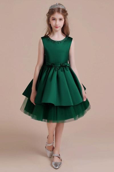 Bow Beading Satin Tulle A-line Flower Girl Dress_1