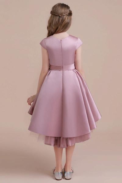 Cap Sleeve A-line Satin High-low Flower Girl Dress_3
