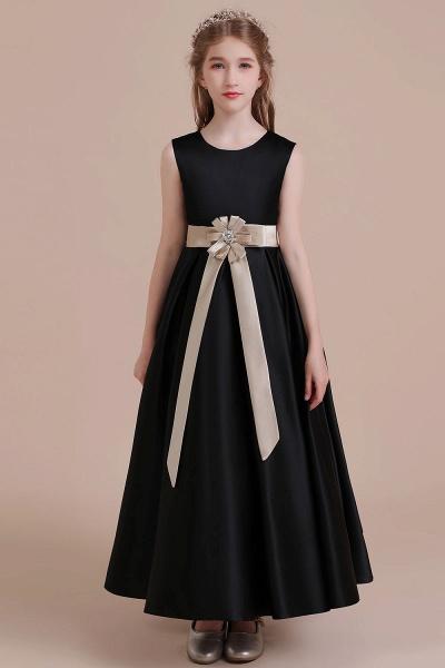 Elegant A-line Satin Flower Girl Dress_1