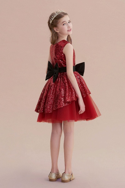 Bows Sequins Tulle A-line Flower Girl Dress_7