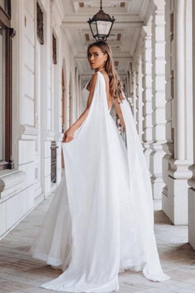 Elegant Sequins Chiffon Tulle A-line Wedding Dress_4