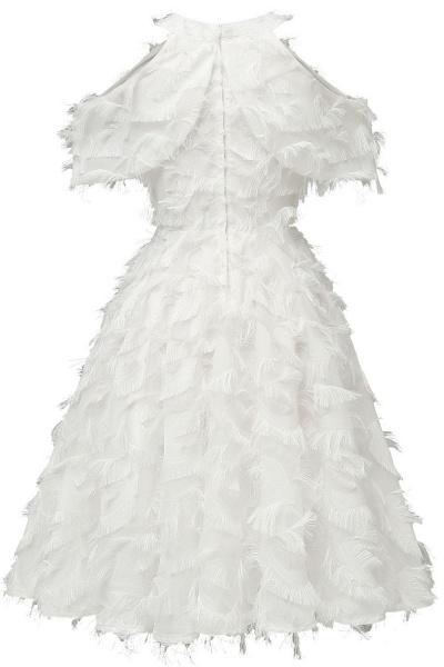 Elegant High neck Artifical Feather A-line Vintage Cocktail Dresses | Retro A-line Burgundy Homecoming Dress_18