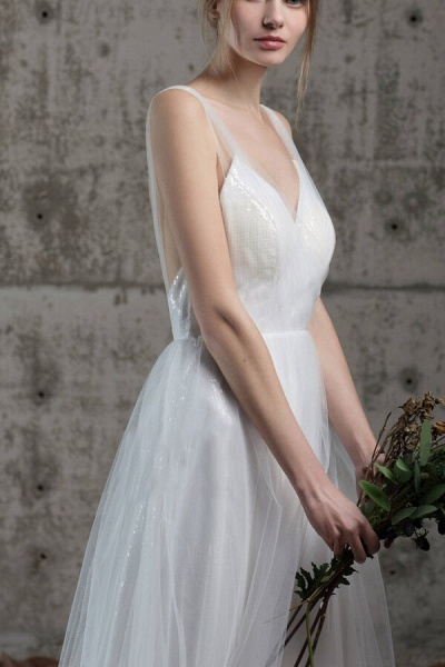 Affordable Ruffle Sequins Tulle Wedding Dress_5