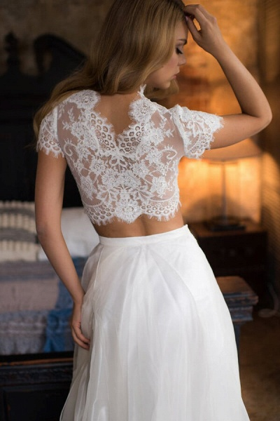 Short Sleeve Lace Tulle Two Piece Wedding Dress_5