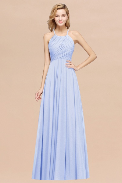 A-Line Chiffon Halter Ruffles Floor-Length Bridesmaid Dress_22