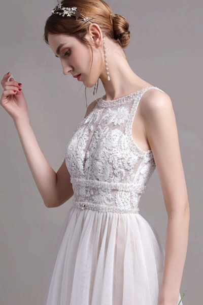 Best Lace Tulle Floor Length A-line Wedding Dress_8