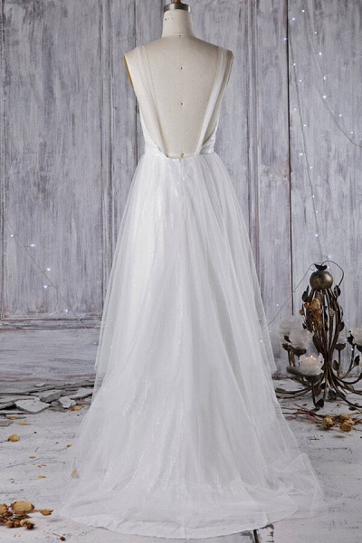 Affordable Ruffle Sequins Tulle Wedding Dress_7