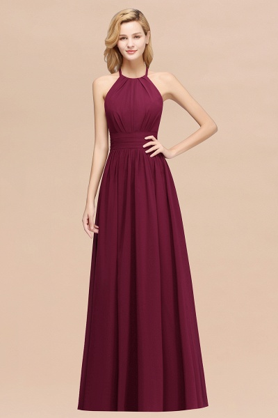 A-line Chiffon Appliques Halter Sleeveless Floor-Length Bridesmaid Dresses with Ruffles_44