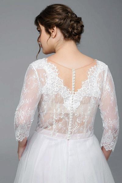 Plus Size Elegant Lace Tulle A-line Wedding Dress_6