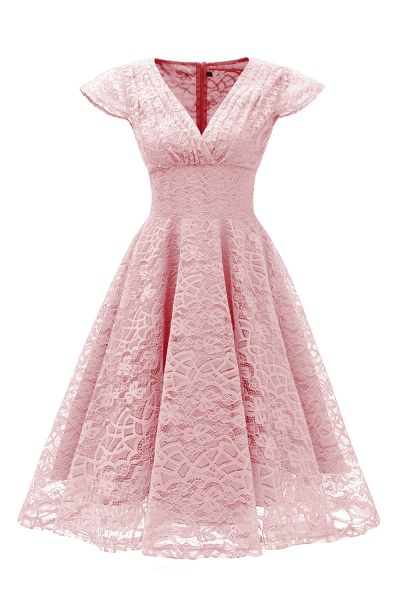 Retro Lace Cap Sleeves Dress Elegant Cocktail Party V-neck A Line Vintage Dress_1