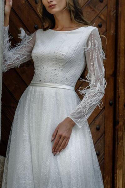 Awesome Long Sleeve Pearl A-line Wedding Dress_4