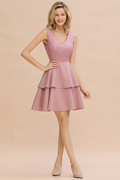 Sexy V-neck V-back Knee Length Homecoming Dress with Ruffle Skirt_17