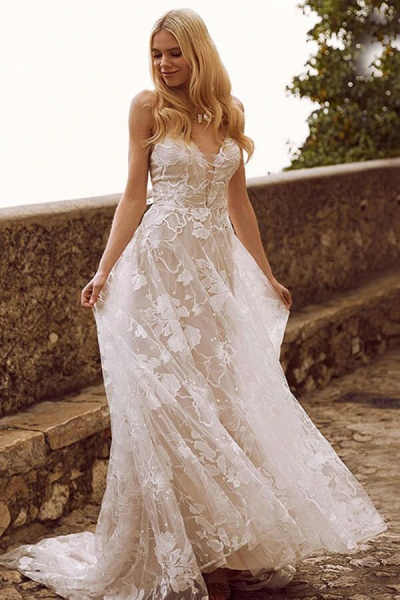 V-neck Spaghetti Strap A-line Tulle Wedding Dress_1