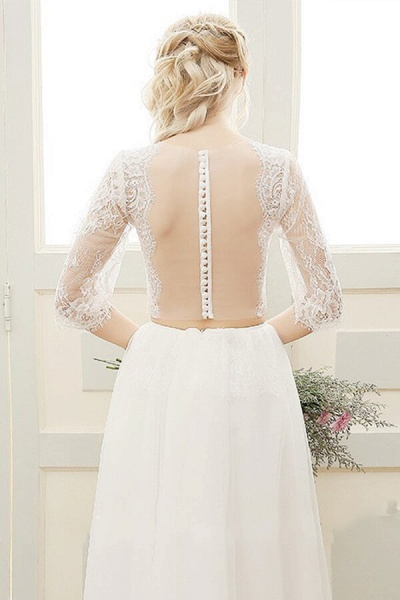 Graceful Sheer Lace Tulle Two Piece Wedding Dress_3