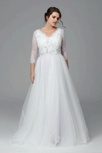Plus Size Elegant Lace Tulle A-line Wedding Dress_1