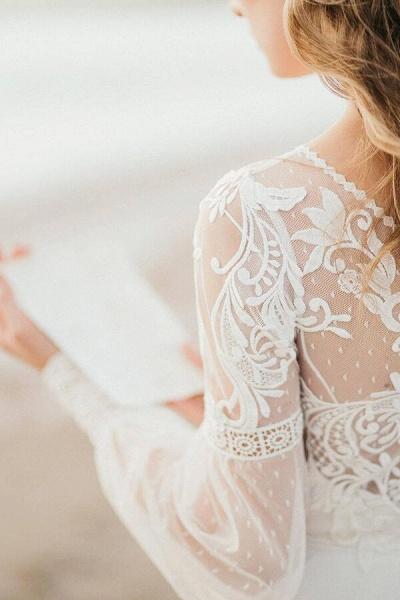 Chic Illusion Long Sleeve Tulle Wedding Dress_7