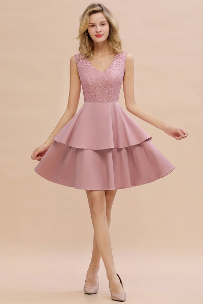 Sexy V-neck V-back Knee Length Homecoming Dress with Ruffle Skirt_1