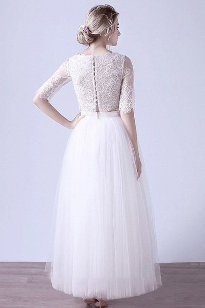Affordable Lace Tulle Two Piece Wedding Dress_3