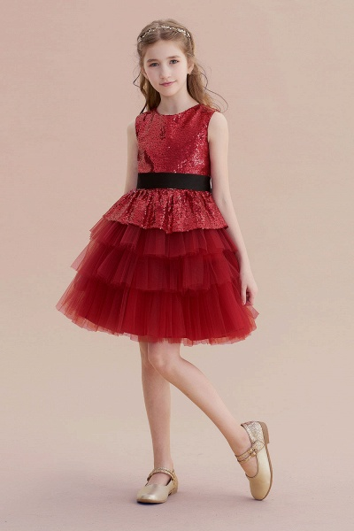 Tulle Sequins A-line Knee Length Flower Girl Dress_4